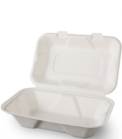 50 x BIO - LUNCHBOX GROSS MIT KLAPPDECKEL 230 x 159 x 77 mm